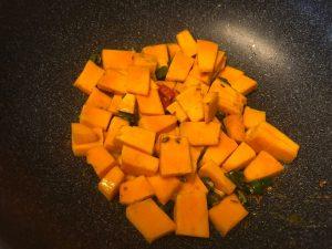 Pumpkin sabzi add chopped pumpkin