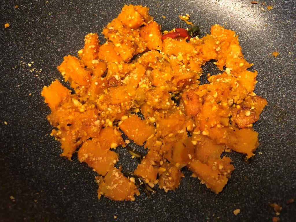 add peanut powder to pumpkin sabzi