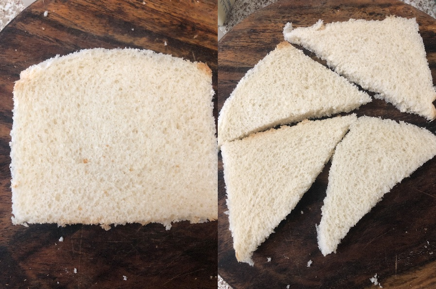 Bread sliced into triangular shapes