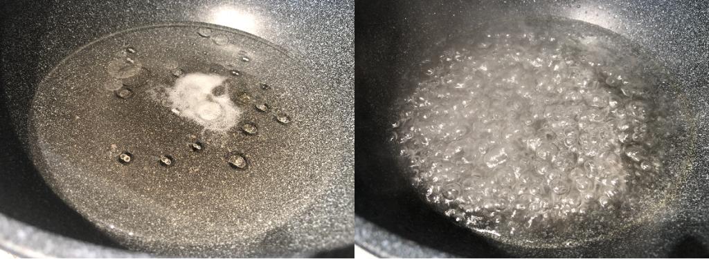 Oil salt water boiled in pan