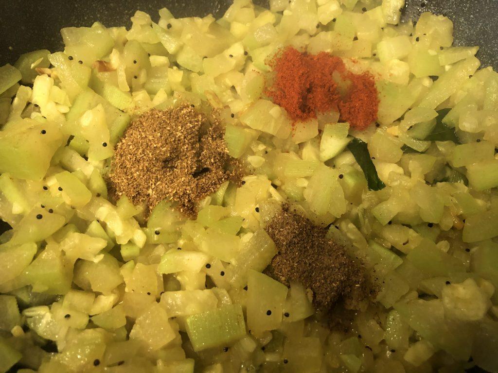 Add spices for lauki ki sabji