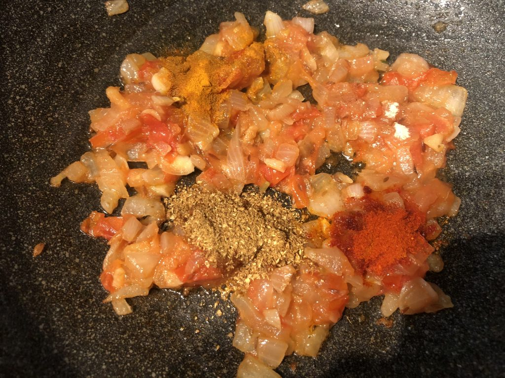 Add spices for making egg curry