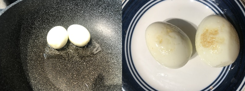 Boil eggs peel them and fry them in oil
