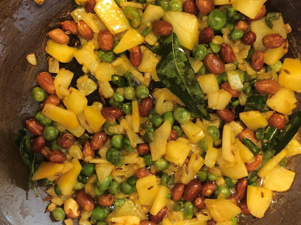 Poha - Add chopped veggies to the pan