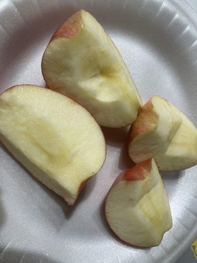 Apple Nachos - Discard seeds and cut half again